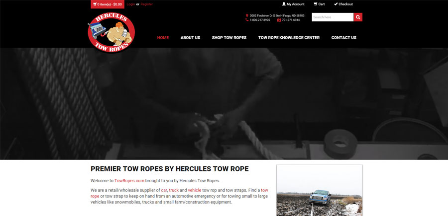 Hercules Tow Ropes home page - BNG Design - West Fargo, ND