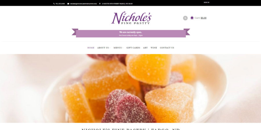 Nicholes Fine Pastry home page - BNG Design - West Fargo, ND