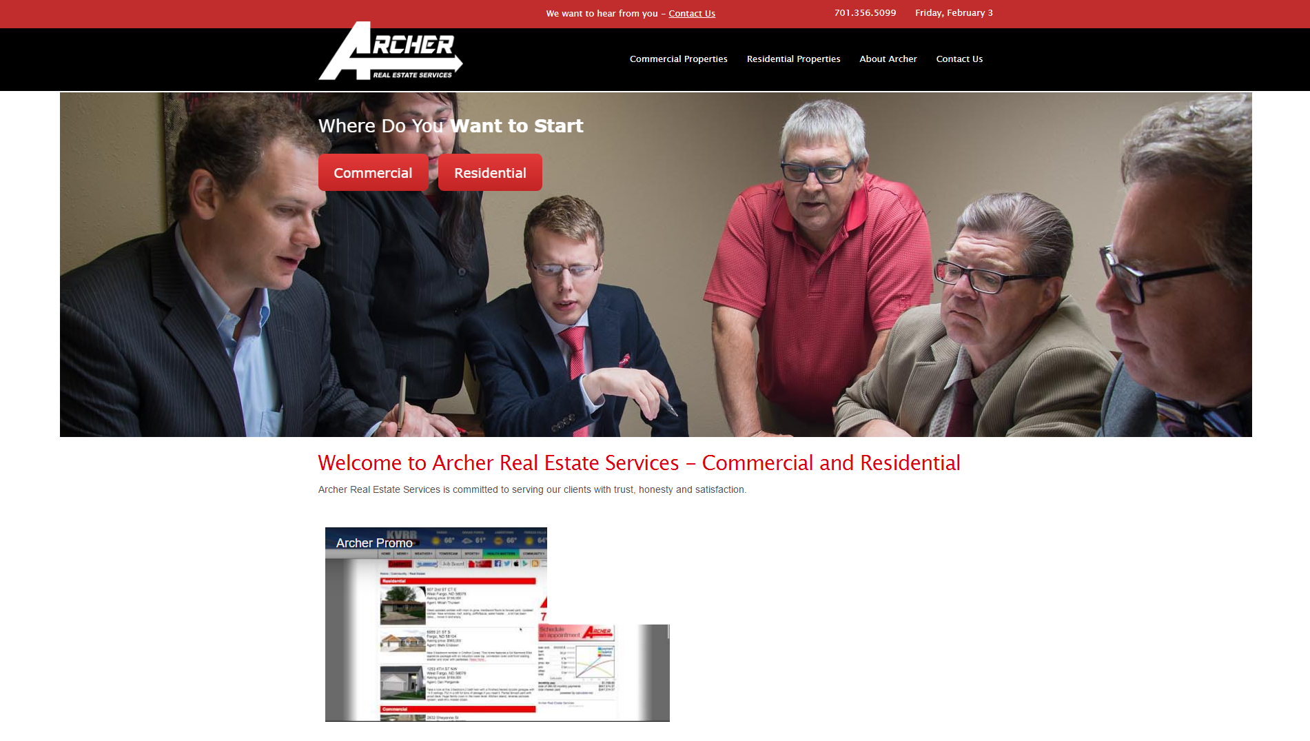 Archer Fargo before website redesign - BNG Design - Fargo ND