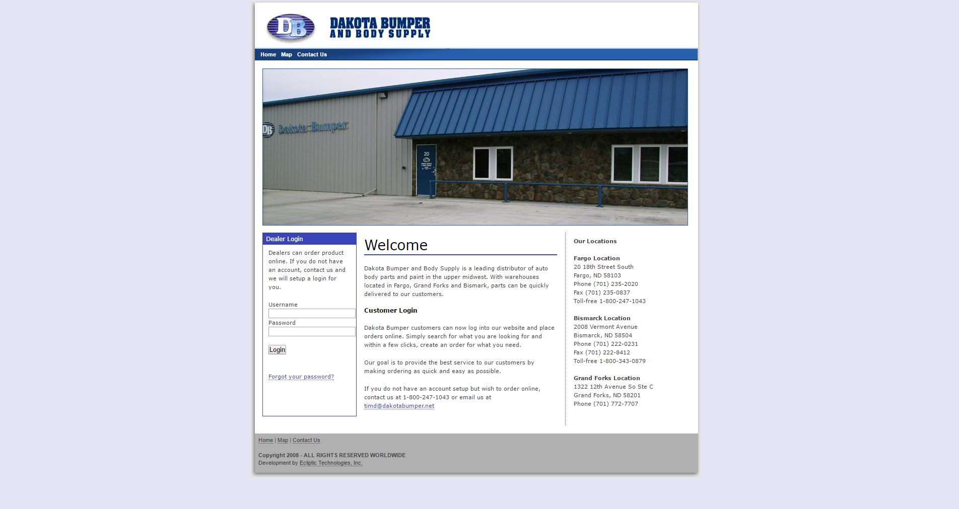 Dakota Bumper and Body Supply before website redesign - Auto body shop distributor - BNG Design - Fargo, ND
