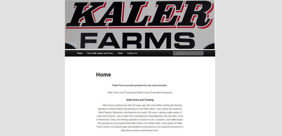 Kaler Farms before website redesign - Corn stalks - BNG Design - Fargo, ND