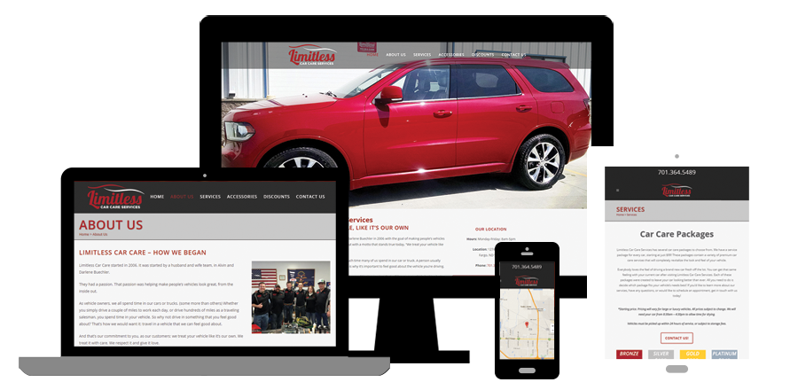 Limitless Car Care Services - Web design and development - BNG Design - Fargo, ND